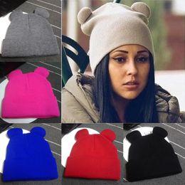 Beanies Braids Australia - 2017 Women's Winter Hats Warm Knitted Braid Hat With Ears Women's Hat Knit Caps Female Beanies Hip-hop Skullies Bonnet Femme