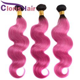 Discount best ombre hair weave Two Tone Peruvian Virgin Body Wave Hair Weaves 1B Pink Ombre Human Hair 3 Bundles Best Selling Dark Roots Rose Pink Colo