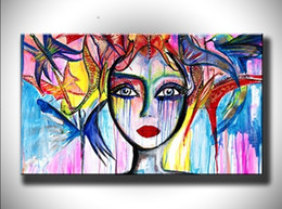 colorful figure Australia - Hand Painted Abstract Colorful Girl Figure Oil Painting on Canvas Handmade Graffiti Oil Paintings Modern Wall Art Picture