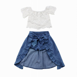 white lace shorts outfits UK - Retail 3PCS Cute Toddler Girl Sets Off Shoulder Lace White T-Shirts Tops Blue Denim Shorts Ankle-Length Dress Outfits 1-5T MN001