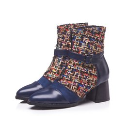 $enCountryForm.capitalKeyWord UK - women's fashion ankle boots plaid fabric black blue chunky heel winter booties for ladies party casual office designer style winter shoes