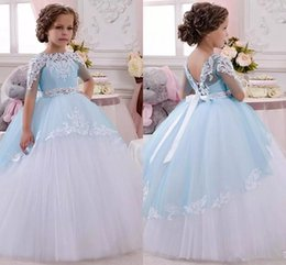 Red White Blue Tutus Australia - Blue Lace Flower Girl Dresses Long Sleeves Sheer Jewel Neck Kids Tulle Tutu Ball Gown Toddler Pageant Dress Hot Sale First Communion Dress