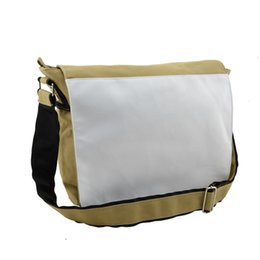 printing sublimation UK - Canvas schoolbag for sublimation bags for your custom photo heat tranfer printing blank Khaki single shoulder bag wholesale
