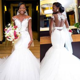 $enCountryForm.capitalKeyWord Canada - Luxury African Mermaid Wedding Dresses 2019 Sexy Backless Lace Black Girl Applique Sweep Train Beach Bohemian Sheer Neck Bridal Gowns BA9628