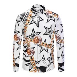 red black striped shirt men 2019 - 2018 European and American fashion brand male beauty dusa long sleeve shirt men casual shirt flower 3D printing color bu