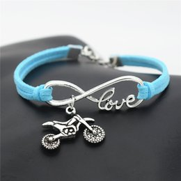 $enCountryForm.capitalKeyWord Australia - Simple Infinity Love Motocross Flying Fast Motorcycle Dirt Bike Bracelet Handmade Blue Leather Suede Rope Bangles For Women Men Jewelry Gift