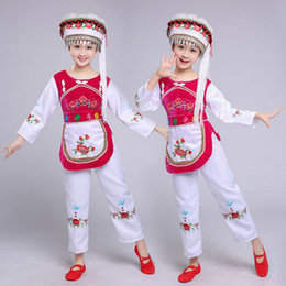 girls chinese costumes Australia - chinese national dance costume for children minority clothing for girls red dance suit girls festival clothing