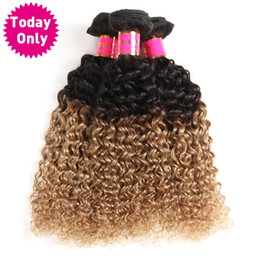 brazilian kinky curly hair weave ombre 2019 - Today Only Ombre Brazilian Hair Weave Bundles Kinky Curly Weave Human Hair Bundles Two Tone 1b 27 Non Remy Blonde Extens