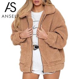 Wholesale women furry coat for sale - Group buy 2018 Winter Women Faux Fur Solid Color Jacket Fluffy Teddy Bear Fleece Zipper Pockets Long Sleeve Furry Coat Casual Street Wear