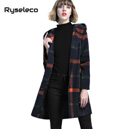 red plaid wool coat NZ - Wholesale-Ryseleco Women Vintage Loose Elegant Plaid Hooded Wool Blends Long Coats Girls Casual Faux Fur Ball Winter Single Breast Outwear