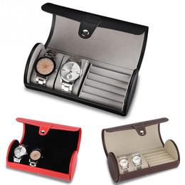 Vente en gros Portable montre de voyage cas rouleau 2 fente montre boîte de rangement boîte de voyage pochette anneau