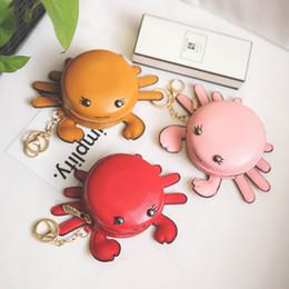 $enCountryForm.capitalKeyWord NZ - Kids Coin Purses Fashion Cartoon Little Crab Design Bags Car Key Pendant Bag With Ring Girls Leather Card Bag Mini Shoulders Bags