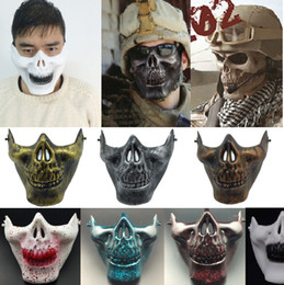 skull half face paintball mask Australia - CS Mask Carnival Gift Scary Skull Skeleton Paintball Lower Half Face facemask warriors Protective Party Mask For Cosplay Theme Costume