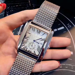Wholesale 2018 Fashion man stainless watch Square luxury male wristwatch with date high quality steel silver rose gold man watches