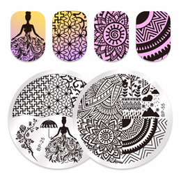 Chinese  2Pcs set BORN PRETTY Round Nail Stamping Plate Panda Dandelion Wedding Dress Geometrical Line Nail Art Template Script Image manufacturers