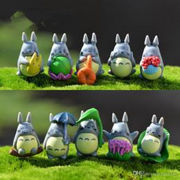 Mini Totoro Statue Jardin Miniatures BRICOLAGE Figurines Micro Moss Paysage Décoration En Plastique artisanat 100pcs / lot T2I121 en Solde
