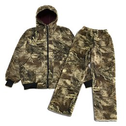 $enCountryForm.capitalKeyWord NZ - Men Hunting Clothes Bush Camouflage Suit Fleece Lining Hooded Bomber Jacket Pants Men Camo Winter Hunting Suits Thermal Clothes
