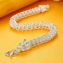 5ba295926ab Pure gold bracelet men online shopping - Fine Pure S999 Sterling Silver  Bangle Men Square Dragon