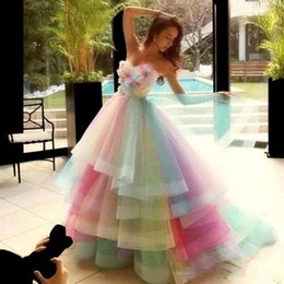rainbow maternity dress UK - Colorful Rainbow Prom Dresses Sweetheart Layers Handmade Flowers Graduation Dress Beads Pleats Princess Pageant Quinceanera Dress
