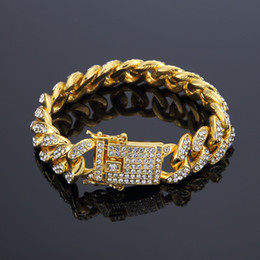 12mm cuban link chain 2021 - News Arrival Women Mens Curb Cuban Chain Bracelets Lab Bling Iced Out Full Rhinestone Clasp Lock Gold Hip hop Chain Bangles 12mm 18 20cm