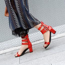 d363d2649492 Heeled Roman Sandals Australia - Fashion Women Red Post Zipper Roman Style  Sandals Women Elegent Buckle