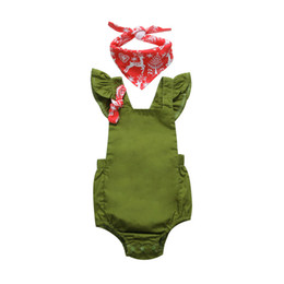 e45a8d1757 2018 Summer Baby Clothes Newborn Baby Girl Army Green Fly Sleeve Back Cross Romper  Jumpsuit With Scarf Kids Clothing Sunsuit Playsuit 0-24M