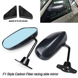 Race Glasses NZ - 1Pair Universal Car Carbon Fiber Autos Blue Rear View Mirror F1 Carbon Look racing Side Mirror Glass & Wide Angle Metal Bracket