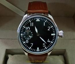 44mm watches 2019 - 44mm GEERVO black dial Asian 6497 17 jewels Mechanical Hand Wind movement men's watch green luminous Mechanical Wristwat