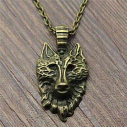 supplier jewelry 2019 - 30pcs lot 32x17mm Wolf Head Necklace Jewelry Gift For Women Vintage Wolf Head Pendant Necklace Wholesale Jewelry Supplie