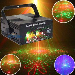 Ingrosso Mini Red Green Laser Lumiere Blu LED Disco Light e apparecchiature musicali per luci di partito Macchina a luci di scena a comando vocale