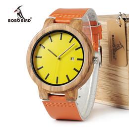 oem watch men 2019 - BOBO BIRD WO09 Newest Zebra Wood Watches Yellow Orange Leather Band Calendar Quartz Watch for Men Women With Wooden Box