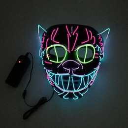 lighting ghost Canada - Halloween Ghost Light Up Glowing Cat EL Wire Mask Cosplay Anonymous Mask Costume for Party Halloween Decoration