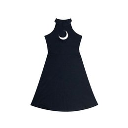 Wholesale Chic Moon Hollow Design Black Dress Women Strapless Halter A Line Mini Summer Dresses For Gothic Girl