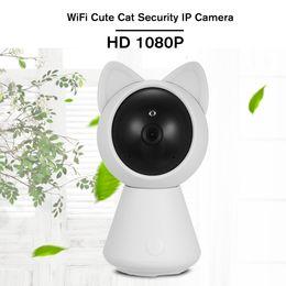 Pinhole security camera night vision online shopping - HD P WiFi Cute Cat Smart IP Camera Pan Tilt Security WiFi Camera P2P Night Vision Motion Detection way Audio