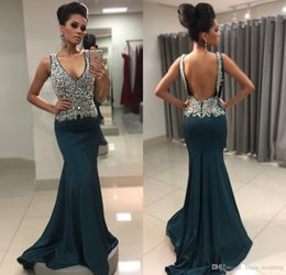 Holiday Evening Gowns Floor Length Australia - 2018 Mermaid Evening Dress Beaded Crystals Long Backless Formal Holiday Celebrity Wear Prom Party Gown Custom Made Plus Size