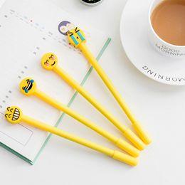 $enCountryForm.capitalKeyWord NZ - 4pcs lot Kawaii Emoji Smile Gel Pen 0.5mm Black Gel Ink Pen For Kids School Student Office Plastic Yellow Stationery