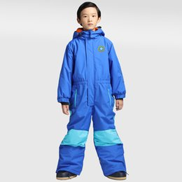 aa14399ac 2017 Boy's One piece Waterproof ski suit Snowboarding Skiing Kids Solid  Winter Suit Jacket and Pant Windproof Thermal Girls