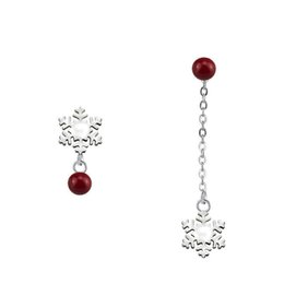 dangle plugs 2019 - S925 Silver Earrings Red Agate Bead Snowflake Drop Earrings Jewelry with 925 Silver Ear Plug Christmas Gift discount dan