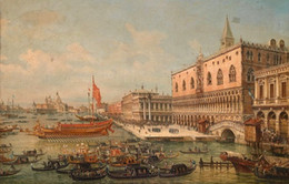 Discount canvas print venice - High Quality HD Canvas Print cityscape of Venice with church canoes and dragon boats Home Decor Wall Art l211