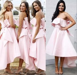 2dd8595597 Pink High Low Short Bridesmaid Dresses Strapless With Bow Back Wedding  Guest Dress A Line Satin Summer Beach Maid Of Honor Gowns