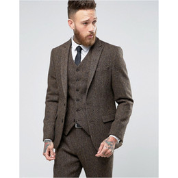 Modern Formal Suits NZ - 2018 New Custom Made Tweed Suits Men Formal Skinny Wedding Tuxedo Gentle Modern Blazer 3 Piece Men Suits (Jacket+Pants+Vest)