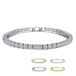 b0d2c588d38e 18K Blanco   Amarillo Chapado en oro Link Corte Redondo Cristales Espumosos  Piedras Tenis Pulseras para Mujeres Joyas pulseras mujer accesorios