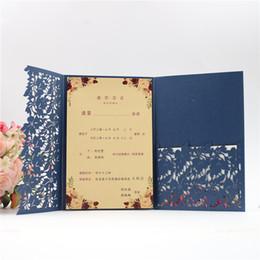$enCountryForm.capitalKeyWord UK - Shipped by DHL 2019 Navy Blue Laser Cut Pocket Wedding Invitation Kits, Customizable Party Invites with RSVP And Envelope