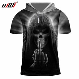 $enCountryForm.capitalKeyWord NZ - UJWI Men Casual Tshirt With Hood Cool Print Death Skull 3D T-shirt Man Hiphop Sportwear Short Sleeve Hoody Pullovers Harajuku