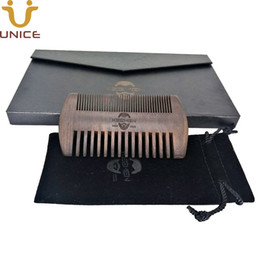 custom black gift boxes NZ - 100pcs lot Custom Your LOGO Fine & Coarse Tooth Ebony Blackwood Beard Combs Black Hair Combs in Gift Box & Pouch with Customized LOGO