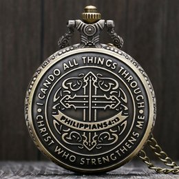 pocket pc new Australia - 1 Pcs Relogio De Bolso Fashion Austria Philippians 4:13 Bible Quartz Fob Chain Pocket Watch For Women Man