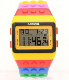 Wholesale rainboW Watch online shopping - Fashion men women Plastic Popular Digital Watch Candy Night Light Up Flashing Waterproof Unisex Rainbow Alarm bracelet Watches