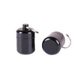 Aluminum wAterproof bottle online shopping - Portable Aluminum Pill Box Tobacco Holder Cash Stash Jar with Key Chain Waterproof Medicine Bottle Smoking Accessories