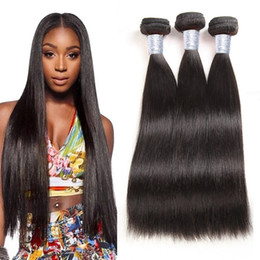 "virgin remy brazilian human hair extensions Canada - Unprocessed Brazilian Virgin Human Hair Bundles Peruvian Straight Hair Weaves 3pcs lot 8""-30"" 1B Soft Malaysian Remy Weaving Hair Extension"