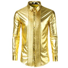 96e3e74cc Shirt Men Autumn Winter Club Style 2019 New Arrival Shirt with Glossy  Finish Ruffled Front Gold-plated Longsleeve Shirt Eurvsize